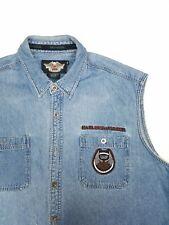 Harley Davidson Denim Embroidered Vest Mens 2XL Sleeveless jacket. #A5.