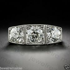 Certified Vintage Art Deco White Round Daimond 3Stone Engagement 14K Gold Ring