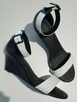 WITCHERY Cosima. white/black leather medium wedges size 39 or 8 / 8.5 / 8 1/2