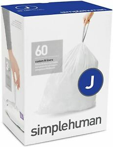 simplehuman Code J Custom Fit Drawstring Trash Bags, 30-45 Liter / 8-12 Gallon,