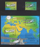 Macao Macau |1999 | 1st Portugal - Macau Air travel MiniSheet + Stamps | MNH