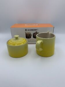 """Le Creuset """" SOLEIL"""" Cafe Covered Sugar and Creamer Stoneware Set New IN BOX"""