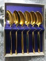 Vintage Set of 6 MEKA Denmark Gold Wash Spoons w/ Color Enamel Handles