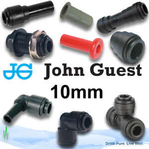 John Guest 10mm Push Fit Fittings, Elbow, Straight, Tee, Shut Off Valves