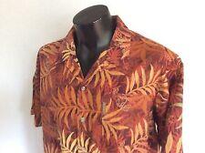 XL Columbia Hawaiian Aloha Shirt Tropical Palms Hibiscus Floral Flowers Leaves