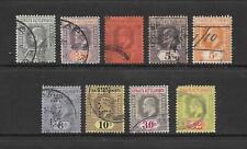 1902 King Edward VII SG110 to SG166 set of 9 stamp Fine Used STRAITS SETTLEMENTS