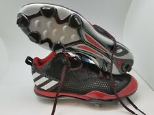 Adidas Baseball Cleats Power Alley 4 Black/Red Men's Sz 13 us AQ8191 IRON SKIN