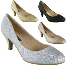 Womens Glitter Court Shoes Low Heel Party Shoes Ladies Bridal Shoes