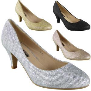 Court Shoes Bridal Bridesmaid Wedding Party Glitter Heel Bridal Big Ladies Sizes
