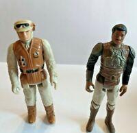Star Wars Lando Calrissian and Hoth rebel soldier figures Vintage no weapon