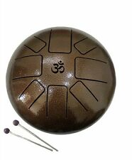 Large Steel Tongue Drum 8 inch 8 Note Chakra Hand Pan Tank Happy Drum Mallet