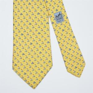 HERMES TIE 5632 EA Sailboat on Yellow Classic Silk Necktie