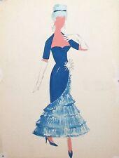 Vintage watercolor painting theatre woman dress costume design