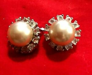 Vintage Earrings 1960s 925 Hallmarked Silver Diamante Pearl Clips  High Quality
