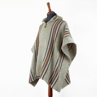 BEIGE LLAMA WOOL MENS HOODED PONCHO CAPE COAT JACKET CLOAK HANDWOVEN IN ECUADOR