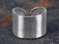 Silberring Bandring Breit Schlicht Matt Ring Silber 925 Verstellbar Offen