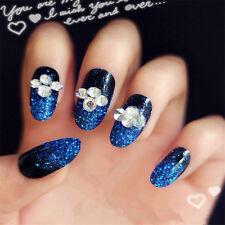 24Pcs Blue 3D Fake Long Full False Acrylic Nails Tips French Fake Nail With Glue
