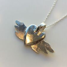 Winged Heart HAND MADE NECKLACE STERLING SILVER VINTAGE DESIGN London Hallmarked