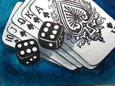Panting Casino Las Vegas Game Playing Cards Dice ACEO Art