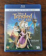 Disney Tangled 3-D Blu-ray 3D + 2D + DVD (4-Disc Set) NO SLIPCOVER