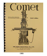 Comet She Hong 2S Milling Machine Operator, Parts, Maintenance Manual #1383