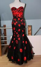 Elegant Black & Red Dot Strapless Prom Dress from Night Moves SIZE 6 (Worn once)
