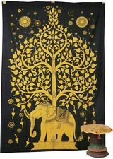 Indian Tree Of Life Psychedelic Wall Hanging Elephant Tapestry Throw Ethnic Art