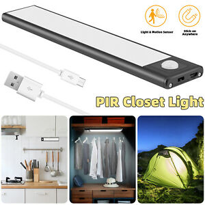 1/3x LED Motion Sensor Closet Light Wireless Night Cabinet Wall USB Rechargeable
