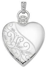 Mujer 2.9cm 925 Plata de Ley 2 Foto Grabado Floral Medallón Corazón Colgante