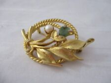 real pearl green jadeite stone Sarah Coventry yellow gold plated brooch