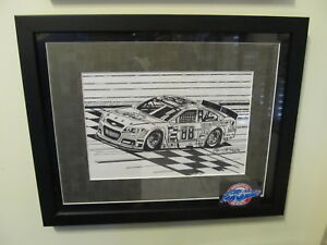 NASCAR SAM BASS ORIGINAL ART WORK DALE EARNHARDT JR NOT A PRINT OR LITHO ORG ART