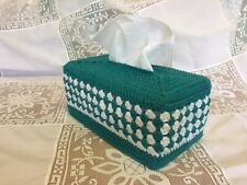 Crochet  Granny Tissue Box Cover Teal And White