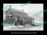 OLD LARGE HISTORIC PHOTO OF NAKUSP BC CANADA, THE RAILWAY STATION c1900