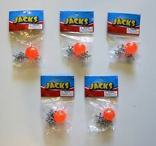 5 SETS OF METAL STEEL JACKS WITH SUPER RED RUBBER BALL GAME CLASSIC TOY KIDS