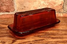Ruby Red Glass Vintage Crossed-Striped Covered Butter Dish