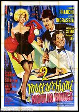2 MATTACCHIONI AL MOULIN ROUGE MANIFESTO CINEMA SEXY COMICO 1964 MOVIE POSTER 4F
