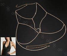 Ladies Gypsy Top Harness Rhinestone Bra Body Chest Belly Chain Necklace Gold