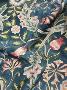 William Morris Wilhelmina Teal Floral Patterned Curtain Fabric, Material