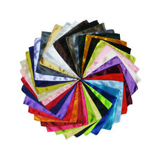 26 X New Men Formal Silk Satin Pocket Square Hankerchief Hanky Plain Solid Color