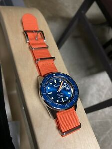 Squale 50 Atmos 1521 Dive Watch Polished Blue Dial & Bezel On Leather And Nato