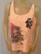 NWT New York & Company 100% SILK Peach Floral Sleeveless Top Shirt Womens S