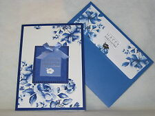 Burgoyne Handmade Blue Floral Birthday Greeting Card - NEW