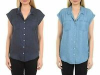 Brand New with Tag JACHS Girlfriend Women Short Sleeve Tencel Blouse Navy Denim
