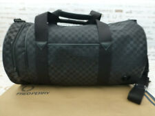 FRED PERRY Barrel Bag Signature CHECKED Shoulder Black Nylon Carry Bags BNWT