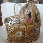 Vintage Wicker Bassinet Basket Woven Cradle Planter Doll Boho Decor Rattan 70s