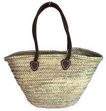 Moroccan Handmade Straw Shoulder Market Shopping Basket Long Leather Handles