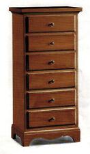 Cassettiera 6 cassetti in legno massello, colore noce, arte povera, classica