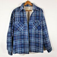 Vintage 70s Sears Insulated Plaid Flannel Shirt 1970s Distressed Faded Grunge L