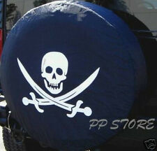 """SPARE TIRE COVER 26.1""""-28.5"""" with Pirate Skull on tracker black zs553970p"""