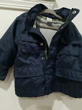 Baby GAP Toddler Boys Size 2 years Navy Blue Hooded ZipUp Rain Jacket w filler